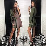 Женское двухцветное шелковое платье с поясом (2 цвета), фото 6