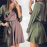Женское двухцветное шелковое платье с поясом (2 цвета), фото 4