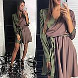 Женское двухцветное шелковое платье с поясом (2 цвета), фото 7