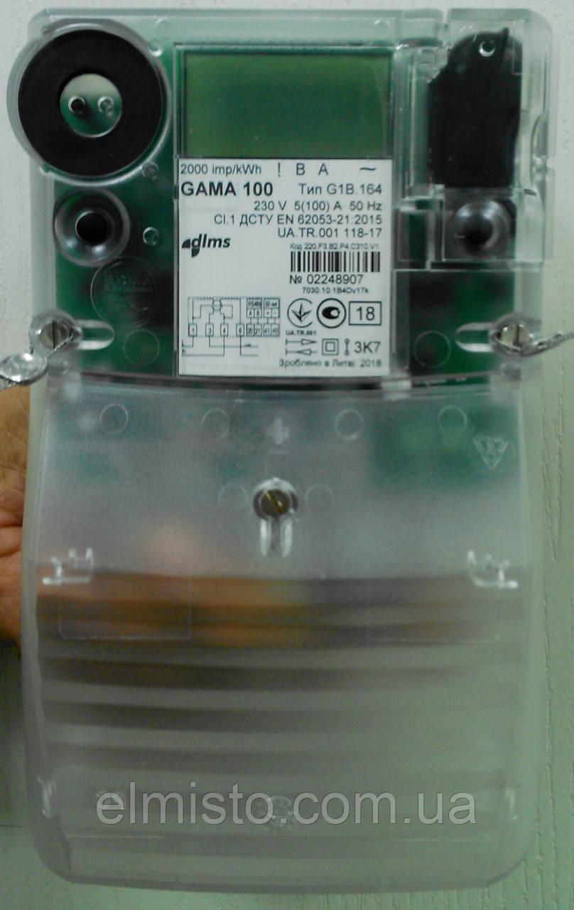 """Электросчетчик GAMA 100 G1B 164.220. F3.B2.P4.C310.v1 (100)А, 1-ф.,  A± для """"зеленого"""" тарифа двухэлементный"""