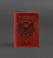 Обложка кожаная для паспорта коралл (ручная работа), фото 1