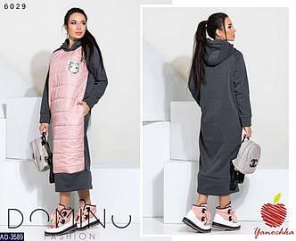 Женское дутое стеганное зимнее теплое длинное платье с капюшоном (трехнитка с начесом,плащевка) 2 цвета