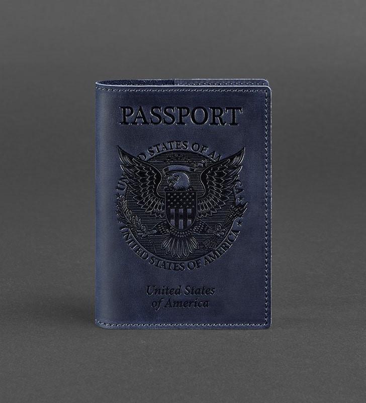 Обложка кожаная для паспорта синяя (ручная работа)
