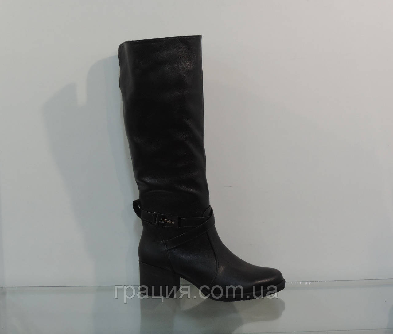 Зимові жіночі шкіряні чобітки без блискавки