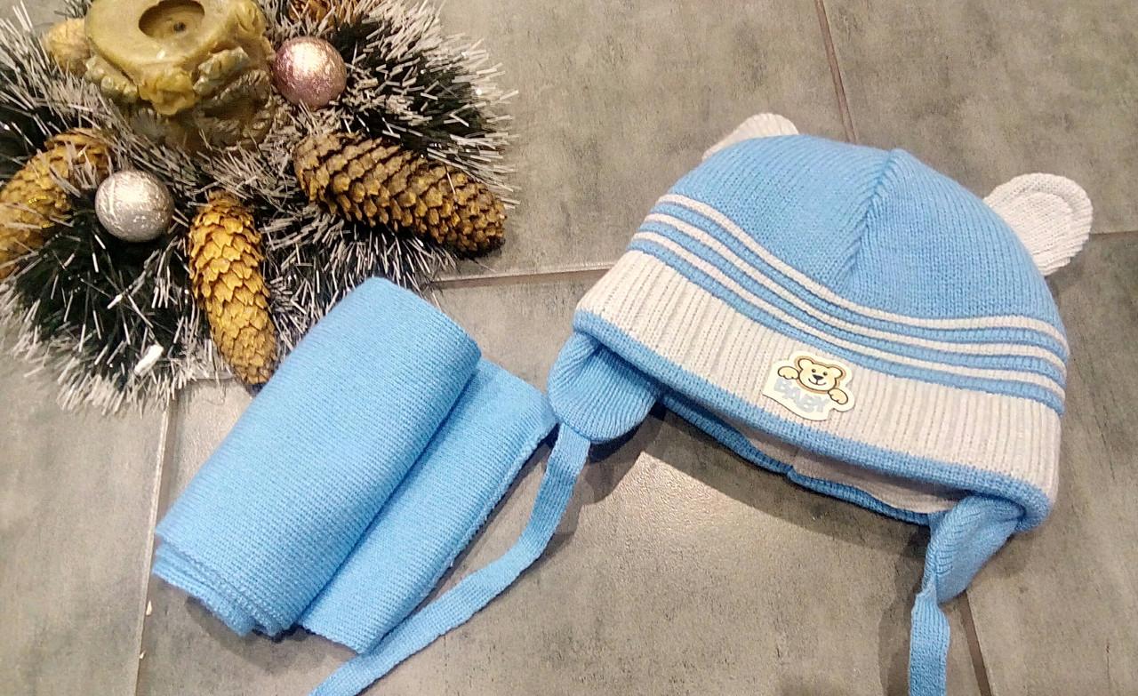 Теплая шапка с ушками и шарфом р-р 42-44
