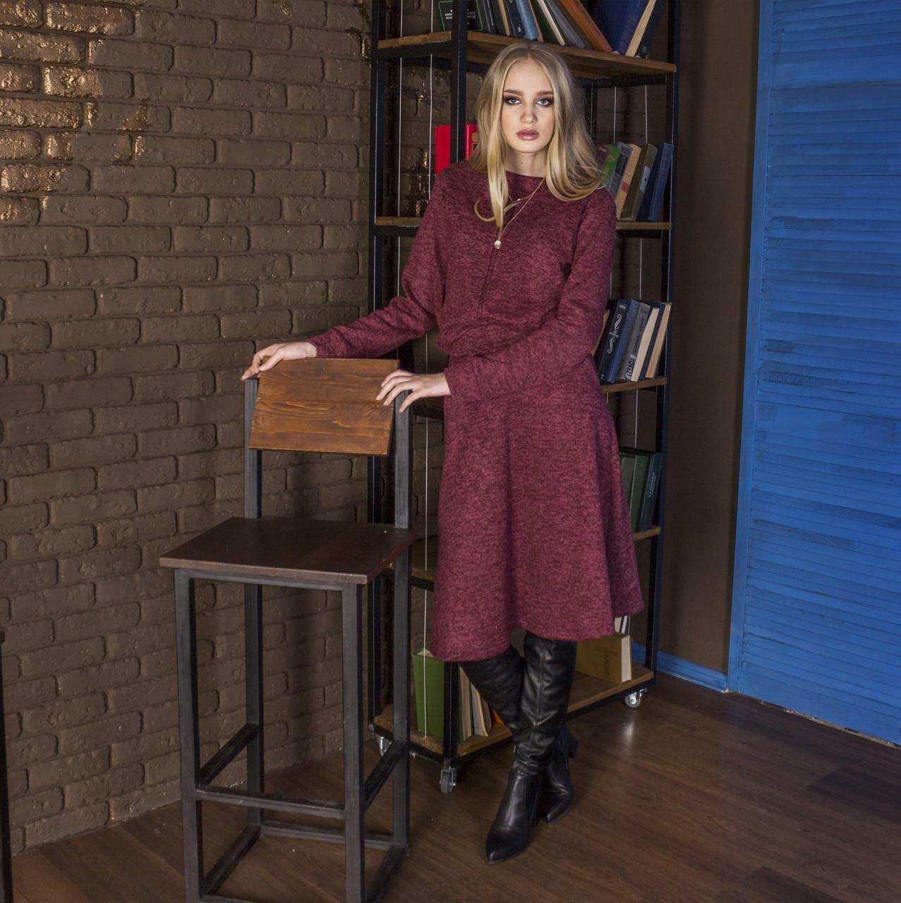 Костюм юбка + свитшот марсала (бордовый), арт.1034