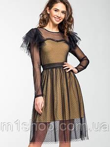 Женское нарядное платье из фатина и сетки (5148ie)