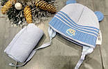 Зимняя шапка с ушками и шарфом р-р 36-38, фото 2