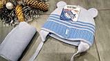 Зимняя шапка с ушками и шарфом р-р 36-38, фото 3