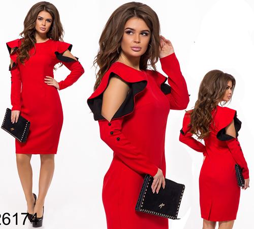 Стильное платье с рюшами (красный) 826174