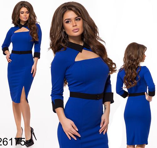Модное платье с разрезом (электрик) 826175