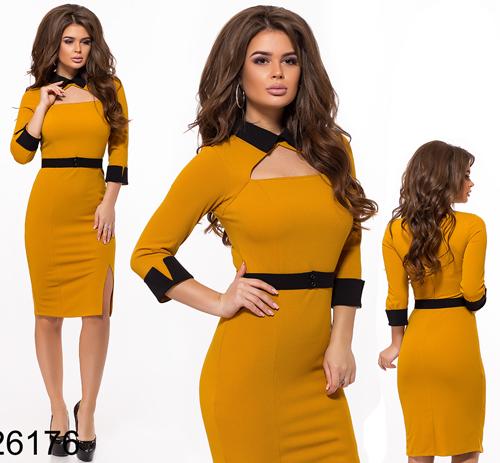 Облегающее платье с воротником (горчица) 826176