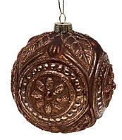 Набор елочных шаров  10см (4шт), цвет: коричневый антик