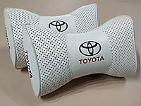 Подушки на подголовник в авто TOYOTA бeлый цвет перфорация