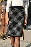 Женская теплая юбка из шерсти в клетку 4312 (р.48-50), фото 1