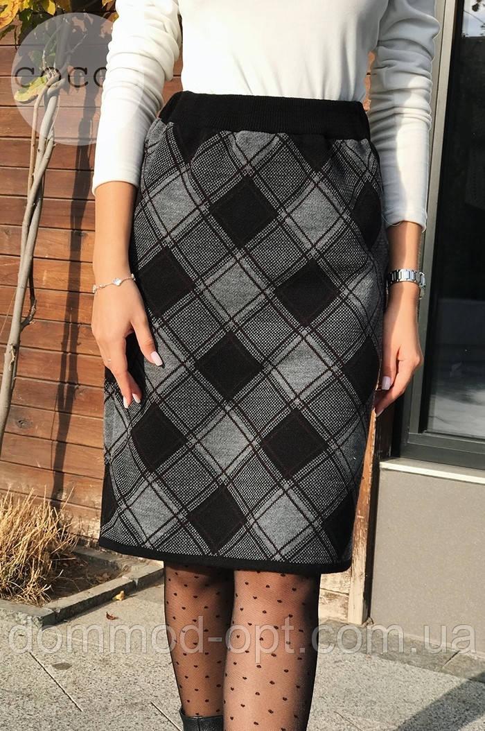 Женская теплая юбка из шерсти в клетку 4312 (р.48-50)