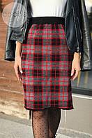 Женская теплая юбка из шерсти в клетку 4332 (р.44-50), фото 1