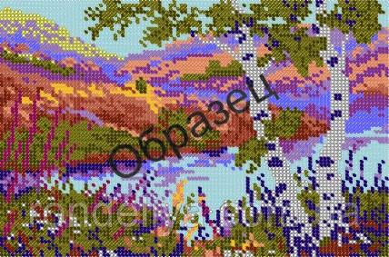 Схема для вышивки бисером «Береза у реки»