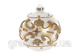 Набор елочных шаров 10см (4 шт), цвет: жемчужный с золотом