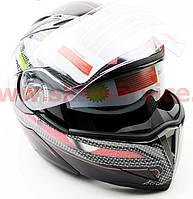 Шлем закрытый с откидным подбородком+очки FXW HF-118 M- черный с рисунком цветным, фото 1