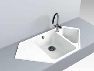 Кухонная мойка угловая искусственный камень кварц Miraggio TIRION белый, фото 2