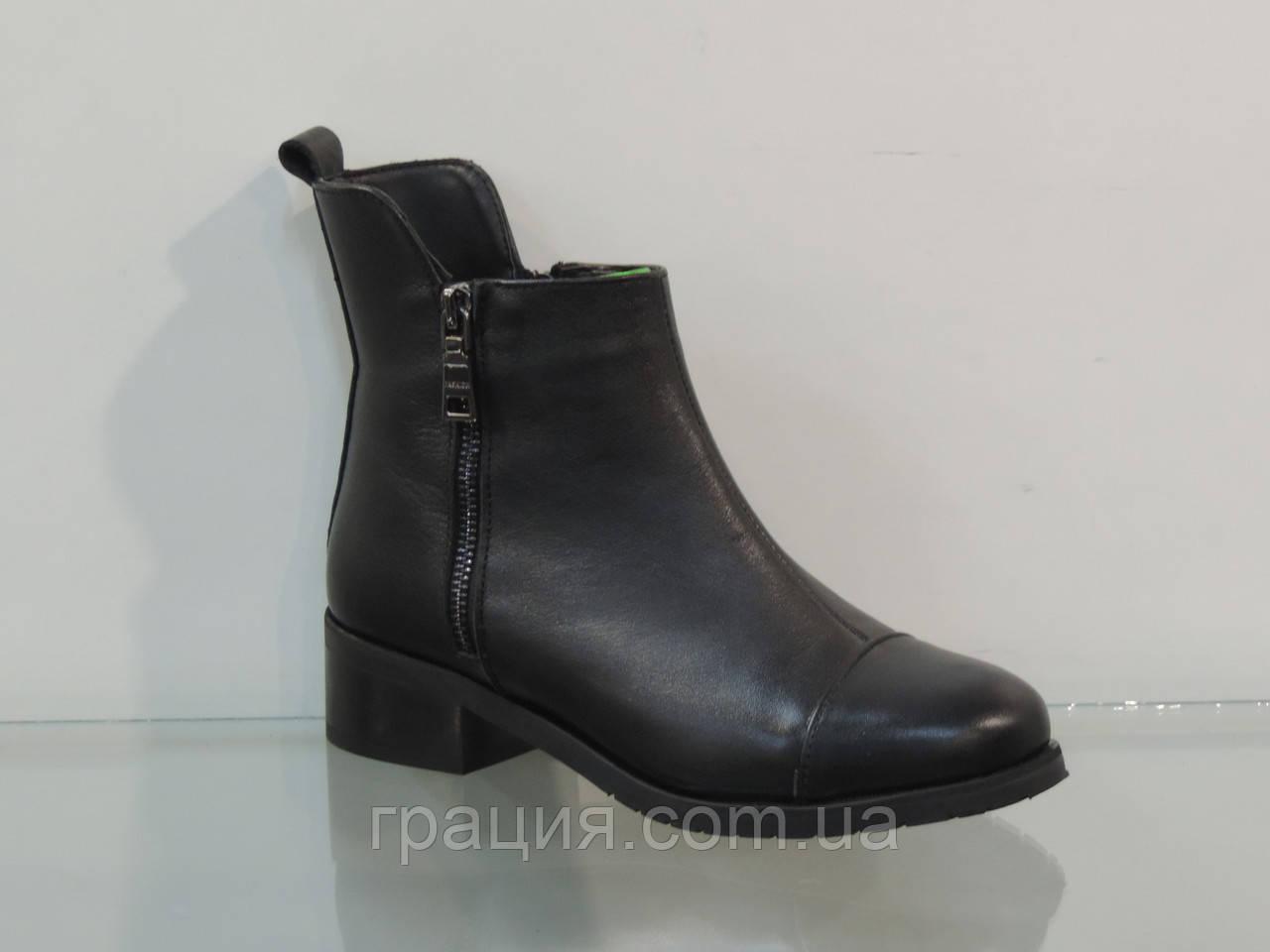 Стильні молодіжні шкіряні зимові черевики