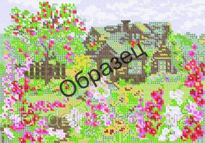 Схема для вышивки бисером «Домик в цветах»