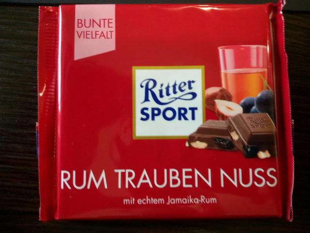 Шоколад Ritter sport орех  с виноградом и ликером (Ритер спорт) 100г. Германия