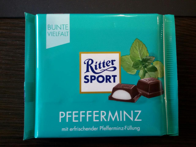 Шоколад Ritter sport мятный ликер (Ритер спорт) 100г. Германия