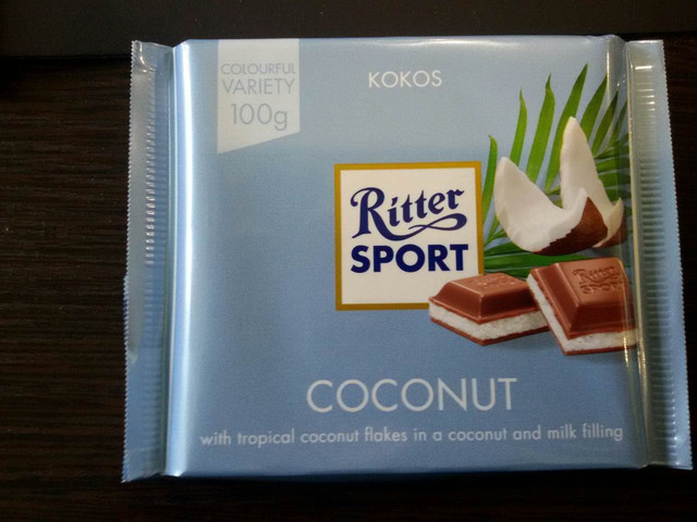 Шоколад Ritter sport с кокосом (Ритер спорт) 100г. Германия