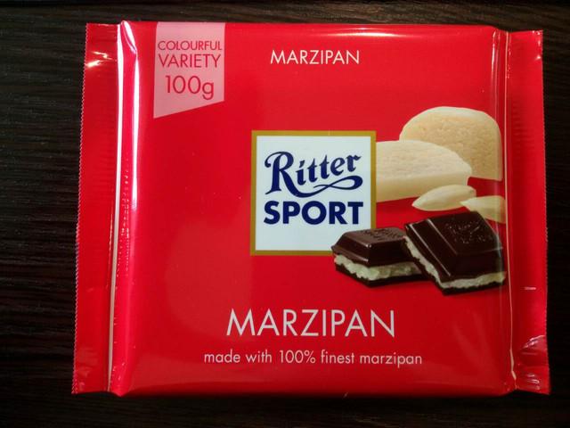 Шоколад Ritter sport с марципаном (Ритер спорт) 100г. Германия