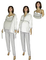 NEW! Теплые комплекты - пижама с халатом - для беременных и кормящих мам Klipsa Soft Grey&Milk ТМ УКРТРИКОТАЖ!