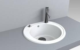 Кухонная мойка из искусственного камня 52*48*20 см Miraggio Tuluza белый, фото 2