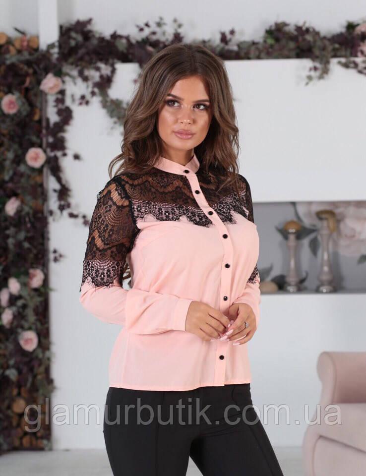 c28acb1f016 Красивейшая женская блузка с кружевом гипюром и длинным рукавом пудра 42 44  46 48 батал 50