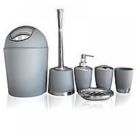 Набор аксессуаров для ванной комнаты Серый (6 предметов)