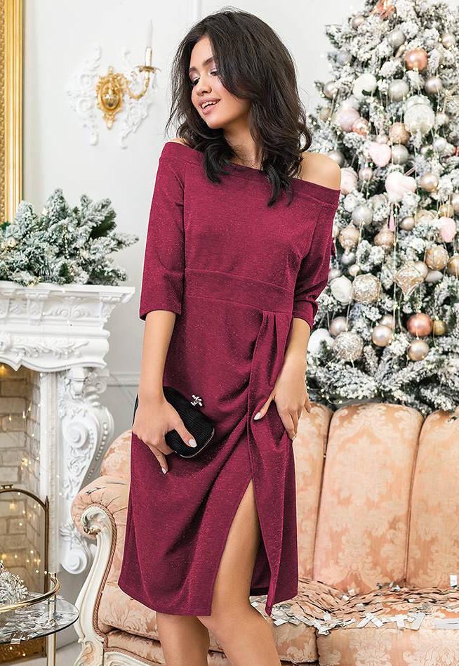 cdb11942ad1b26 Вечернее платье с открытыми плечами бордового цвета. Модель 20395. Размеры  42-48