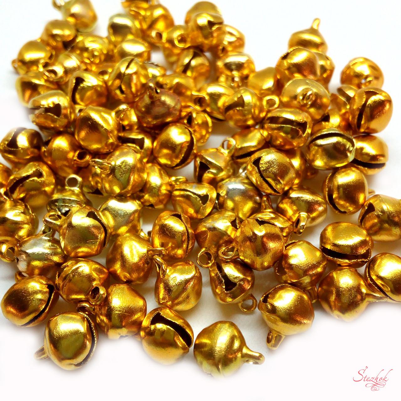 Бубенец металлический 7х6х5мм звенит для рукоделия цвет желтый