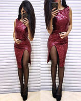 """Сексуальное платье с паетками с разрезом на ногу  (жіноче плаття ) """"Шакира"""" 3 цвета, фото 1"""