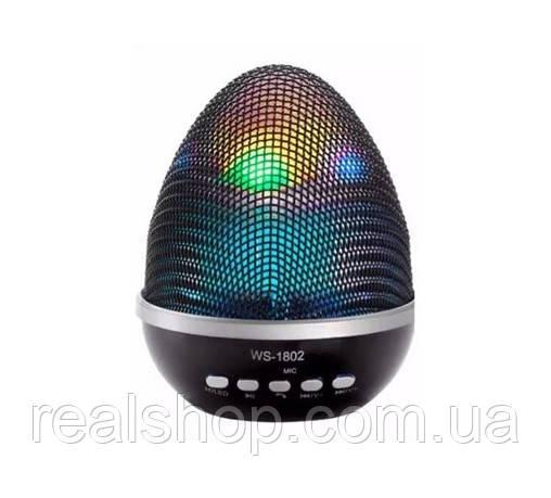 Портативная колонка WSTER WS-1802 LED Black  Bluetooth, MP3, AUX