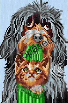 Схема для вышивки бисером «Кот и пес»