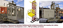 Высота подъёма Н-85 метров. Строительный подъёмник грузовой мачтовый г/п 1500 кг, 1,5 тонны., фото 2