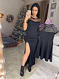 Женское черное платье с горошком и разрезом (отдельно также детское), фото 4