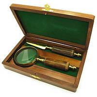 Лупа с костяной ручкой и ножом для конвертов в деревянном футляре (25х14х4,5 см) ( 18132)