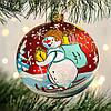 "Шар на елку 100 мм ""Снеговик с подарками """