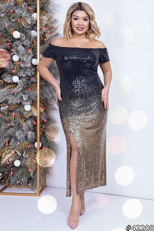 3f39b0082c6 Шикарное вечернее платье батал из черно-золотой пайетки - IBERIS в Харькове