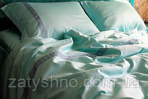 Комплект постельного белья сатин премиум мятного цвета с вышивкой