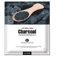 Тканевая маска для лица с древесным углем Cos.W My Real Skin Charcoal Facial Mask