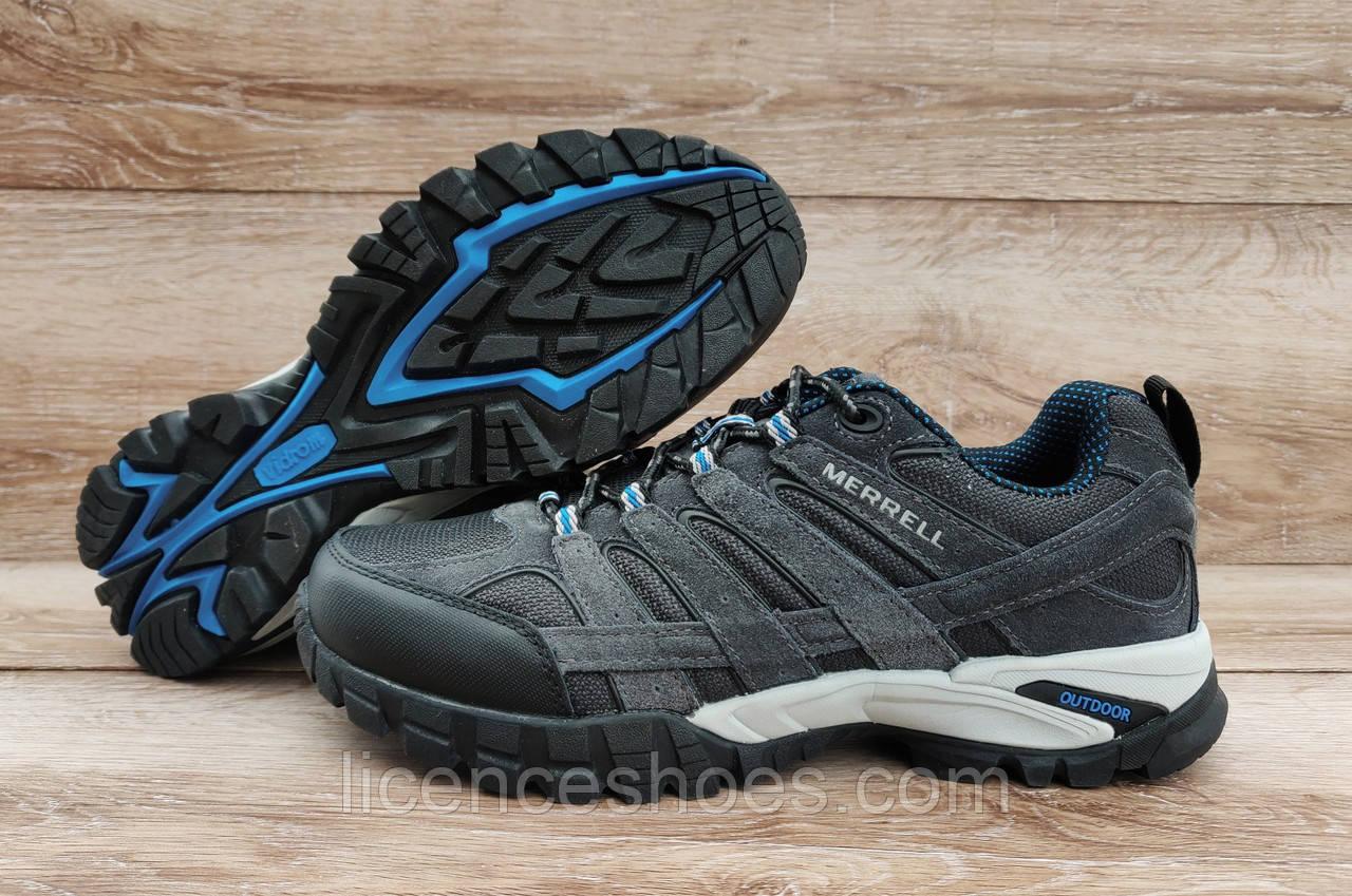 Мужские кроссовки Merrell OutDoor Grey (серые с синим) ТОЛЬКО 46 - стелька 29.5+см