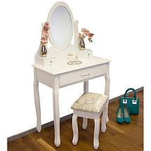 Туалетный стол Helena 75 см с табуретом и зеркалом, фото 3