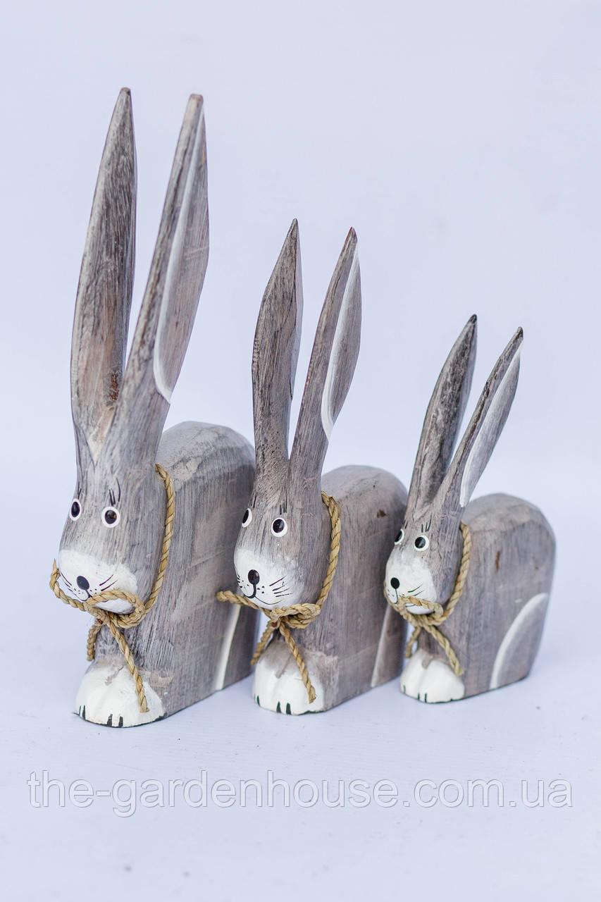 Семья кроликов серых (23, 20 ,15 см)